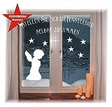 WIEDERVERWENDBARE winterliche Fensterbilder weiß | Engelchen | Weihnachten | Fensterdeko | konturgetanzt ohne transparenten Hintergrund