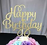 Decoración para tarta para cumpleaños, aixin Twinkle DIY Glitter primer cumpleaños Cupcake Topper para tartas Smash vela alternativa partido hecho a mano
