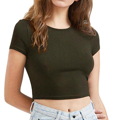 ESAILQ Damen T-Shirt Ladies Extended Shoulder Tee, Baumwollshirt mit Turn-up Ärmeln(L,Armeegrün)