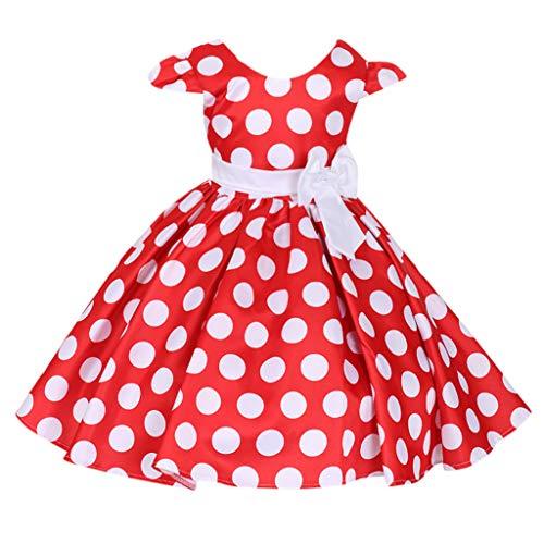 Livoral 2019 Surprise Kinder Baby Mädchen Blume Punkt Bogen Prinzessin Party Leistung Formale Tutu Kleid(Rot,130) ...