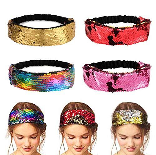 Aissy Damen Stirnbänder,4 Stück Elastische Zweifarbig Reversible Pailletten Sparkly Kopfband Haarband für Damen - Reversible Stirnband