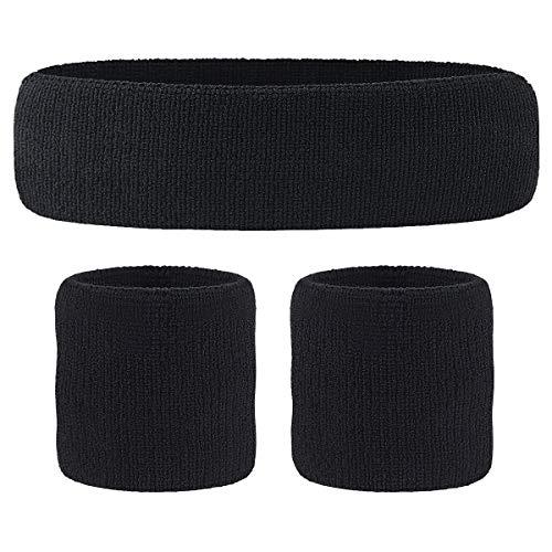 HOTER Sportline Handgelenk Band, Frottee Handgelenkband, Schweißband, Schweißband (Preis für 1Stück), A3-Black(1Headband+2Wristbands)