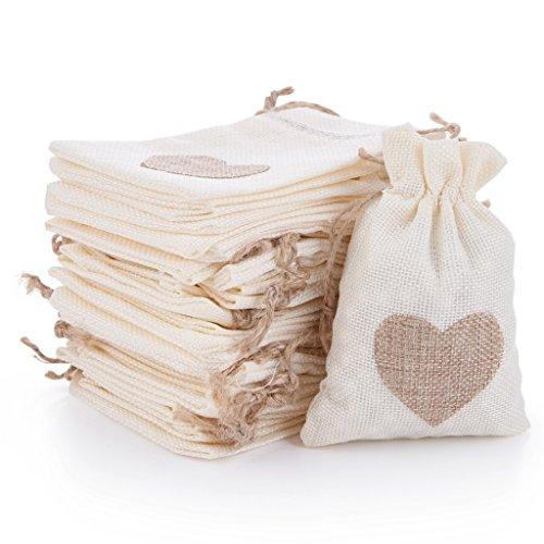 (QILICZ 30 stück Jutesäckchen/Jute-Sack für Adventskalender Schmuck Hochzeit Gastgeschenke und DIY Handwerk, Jutebeutel, Stoffbeutel, Natur Säckchen, Geschenksäckchen mit Zugband - 9,5x13,5cm)