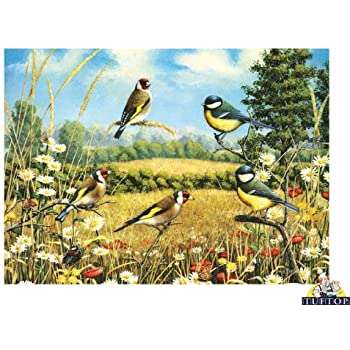 Premium Glass Chopping Board   Goldfinch Birds Design Large Kitchen Worktop  Saver Protector