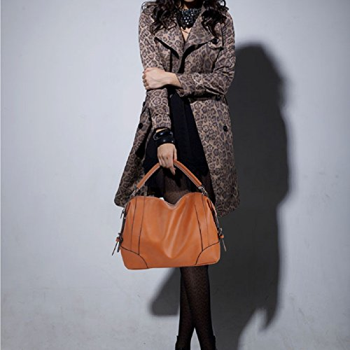 Handbags,Ladies Classic Tote Bags SPSHENG Premium Leather Handbags for Work School (1-Brown) 1-Brown