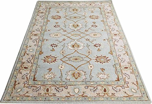 Carpet Craft Persian Collection Soft Blue & Beige Hand Made Wool 5x7 Feet Carpet For Living Room