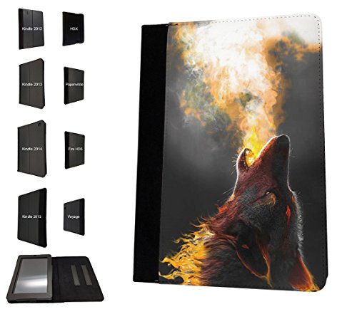 002999 - Wolf Fox Dog Howling Winter Alaska Husky Design Amazon Kindle Fire Fire HD 6'' 4TH Generation 2014/2016 TPU Leder Brieftasche Hülle Flip Cover Book Wallet Stand halter Case (2014 Fire Kindle 6 Hd Zubehör)