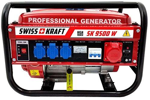 SWISSKRAFT Generador de corriente, grupo electrógeno de emergencia de 4tiempos, 9500W