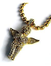 Colgante de Ángel / Querubín Bañado en Oro con Micro Diamantes Sintéticos y Cadena de Bolas