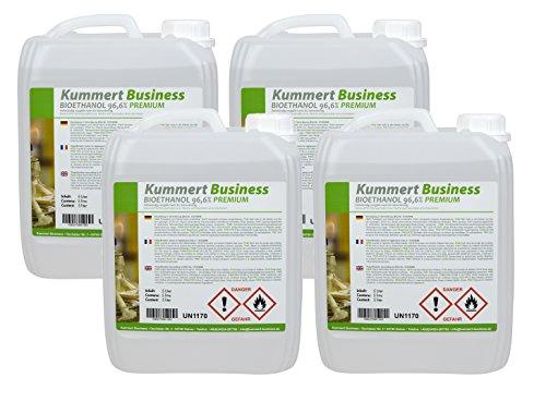 20 L Bio Ethanol Bioethanol Premium 96,6% (4 x 5 L) für Kamin Gelkamin TÜV SÜD zertifiziert