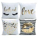 YNester flanella Gold Pillow Covers decorative Gold Love casi cuscino labbra Covers Pillowcover 45x 45cm cuscino Bronzing per divano letto divano regalo, White Flannel Bronzing, 45 x 45 cm