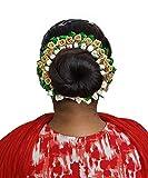 Pelo New Arrival Hair Gajra, Hair Accessories For Women And Girls, Wedding Bride Hair Gajra For Bun Decoration, Green, 25 Gram, Pack Of 1