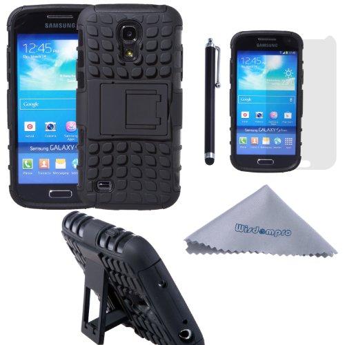 Wisdompro Galaxy S4 Mini Case, [2 pièces en 1] Couches double [Heavy Duty] de boîtier robuste dur hybride souple avec [Pliable Béquille] pour Samsung Galaxy S4 Mini (pas S4 Fit) - Noir / Noir