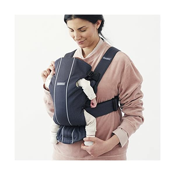 BABYBJÖRN Baby Carrier Mini, 3D Mesh, Anthracite Baby Bjorn Perfect first baby carrier for a newborn Small and easy to use 3D Mesh - Cool and airy mesh fabric, with an incredibly soft inner layer next to your newborn's skin 2