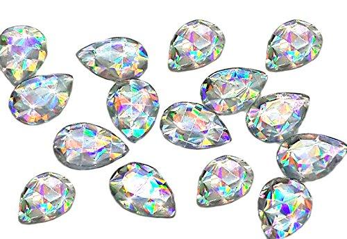 EIMASS 50Stück Acryl-Kristalle mit flacher Rückseite und Klebstoff, Strass, zum Verzierenvon...