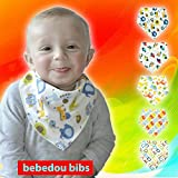 Bebedou 5 PACK BOYS Super Absorbent Pure Cotton Stylish Bandana / Dribble Bib for Babies and Toddler, fun colourful design, baby shower gift, burpy towel •Lovely designs • very good quality •nice and funky • (5 Pack Gift Set) •unique baby gift • protects against drool rash • and reflux cute and stylish •. high quality & Super absorbent drool bibs •Made with a 100% soft cotton front and an ultra-absorbent back