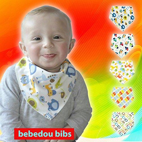 Bebedou 5 Pack BOYS Super assorbente in cotone puro, stile Bandana/Dribble-Bavaglino per neonati e bambini, (Moderna Di Alta Qualità Design)