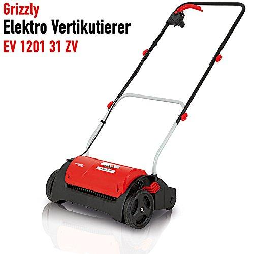 Grizzly Elektro Vertikutierer EV 1201 - elektrischer Rasenvertikutierer, Rasenlüfter zur Gartenpflege - Belüfter mit starkem 1200 W Motor (Hat Unkraut Rot)