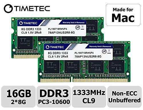 Timetec Hynix IC compatible with Apple16GB Kit (2x8GB) DDR3 1333MHz PC3-10600 SODIMM Memory Upgrade For MacBook Pro, iMac, Mac mini 16GB Kit (2x8GB) (8gb Macbook Pro Für Ram 2011)
