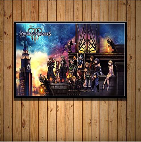 haoxinbaihuo Kingdom Hearts Poster Neue Videospiel Anime Cartoon Kunst Malerei Silk Leinwand Poster Wand Wohnkultur Kunstwerk 40 * 60 cm Kein Rahmen