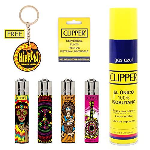 HIBRON Clipper 4 Mecheros Encendedores Diversos Surtidos Bonitos, 1 Carga Gas Encendedor Clipper 300 ML,9uds De Piedra Clipper Y 1 Llavero Gratis 1-10003-3