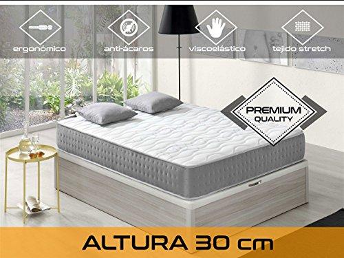 Dormi Premium Elixir 30 - Colchón Viscoelástico, 140 x 200 x 30 cm, Algodón/Poliuretano, Blanco/Gris, Matrimonio