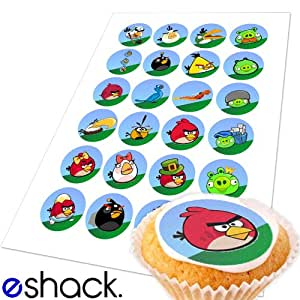 Edible Cake Images Storage : 24xAngry Birds Edible Cupcake Cake Toppers Decorations ...
