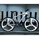 FJW Bicicleta de montaña Unisex, 26'Pulgadas Marco de Acero de Alto Carbono, 21/24/27 Velocidad Ruedas de 3 radios Bicicleta de suspensión para Commuter City Bike,Silver,24Speed