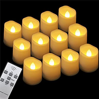 GBATERI 12 Pack LED Tealights with Timer and Remote,Flickering Votive Flameless LED Tea Light Candles Battery Operated,Electric Plastic Fake Tealight Candles Unscented LED Votive Candles Amber Yellow Flame for Wedding,party and Birthday Christmas Hallowee