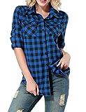 Yidarton Damen Langarmshirt Kariertes Hemd Slim Fit Freizeit Abgerundeter Saum Bluse Shirt Oberteil (Large, Blau)