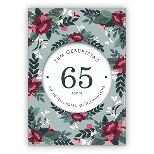 Im 5er Set: Klassisch elegante Geburtstagskarte mit dekorativen Blumen zum 65. Geburtstag: 65 Jahre zum Geburtstag die herzlichsten Glückwünsche
