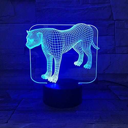 ANDEa 3D kleine Tischleuchte, kreative Leopard Nachtlicht bunte USB drei Abmessungen Visual Lights Schlafzimmer Nacht Atmosphäre kleine Lampe Geburtstagsgeschenk Urlaub Geschenke seien Sie versichert ( größe : A ) (Leopard Männliche)