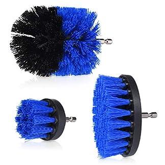Navaris Set de cepillos de Limpieza para Taladro – Kit 3X Cepillo para taladradora para Limpiar baño Cocina Azulejos Fregadero Ducha – Dureza Media