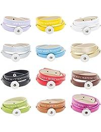 Soleebee bracelet en alliage de cuir PU LOVE HOPE HAPPINESS Bracelet bouton Snap Fit 18mm Charms (Pack de 12)