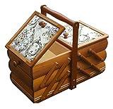 Rodnik Nähkästchen Landhaus Nähkorb Nähkasten Holz mit Nadelkissen FARBE KALVADOS Schmuckkästchen Holz Lasur - ausziehbare Holzschatulle mit Gobelin - Holz Box - Aufbewahrungskiste
