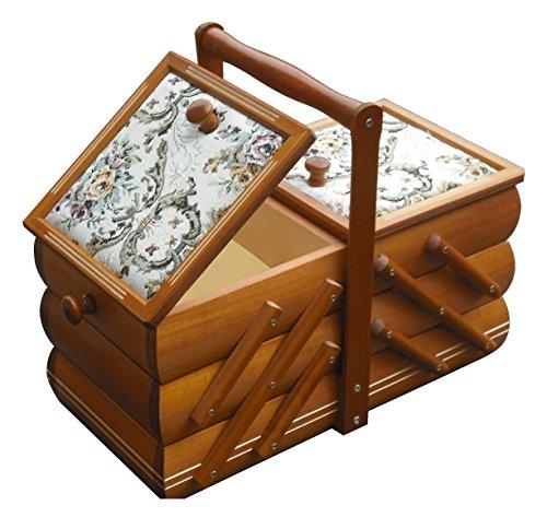 Nähkästchen Landhaus Nähkorb Nähkasten Holz mit Nadelkissen Nähbox Schmuckkästchen Holz Lasur - ausziehbare Holzschatulle mit Gobelin - Holz Box - Aufbewahrungskiste