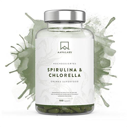Spirulina Chlorella Kapseln [ 1800 mg ] von Aava Labs - Superfood mit wichtigen Nährstoffen und Pflanzeninhaltsstoffen - frei von Gentechnik und Bestrahlung, glutenfrei, vegan-freundlich - Blaualgen - Ideal für Smoothies, Säfte und mehr - 180 Kapseln.