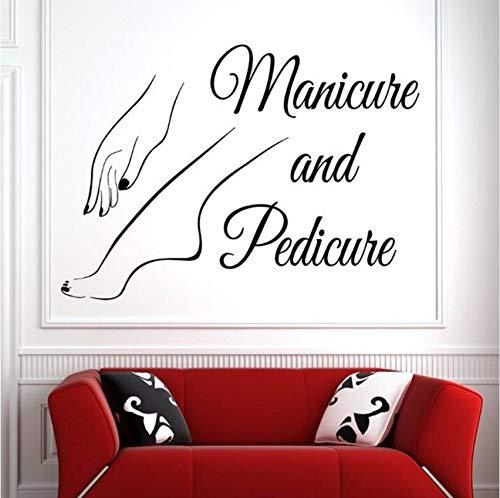 Lvabc Vinyl Wand Fenster Aufkleber Nail Art Polnischen Wandaufkleber Schönheitssalon Maniküre Pediküre Wandkunst Wand Nagelstudio Dekoration 42X30 Cm