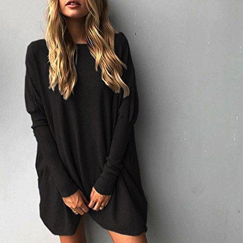 Dihope Femme Printemps Automne T-shirt Large Col Rond Top à Manches Longues Tee-shirt Casual Haut Loisir Noir