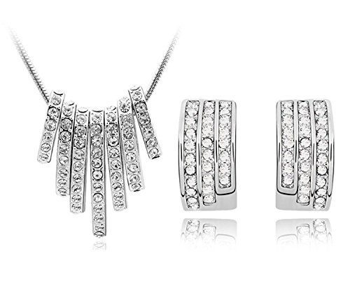 Shining Diva High Quality Elegant Silver Plated Rhinestone Necklace Set For Women