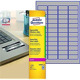 AVERY Zweckform L6009-20 Typenschild-Etiketten (A4, 960 Stück, 45,7 x 21,2 mm, wetterfest, 20 Blatt) silber