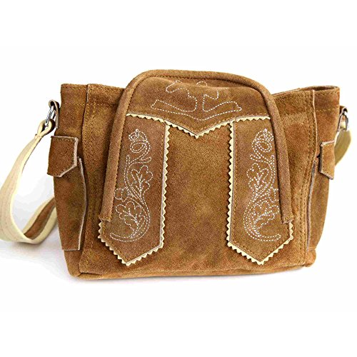 Almbock Trachten-Tasche Moni in braun - aus Rinds-Leder gefertigt, in Lederhosen-Design, elegant und antik, für Frauen, groß, originelle Tasche