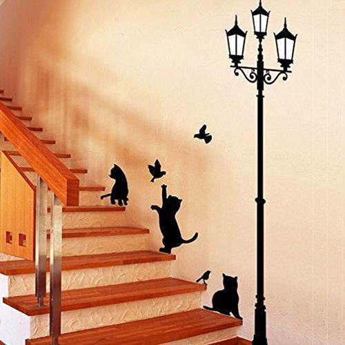 Wandaufkleber Spiegel Neue Freche Katzen Vögel Und Straßenlaterne Lampe Post Wandaufkleber Dekoration Schule Zimmer Kindergarten Wandaufkleber