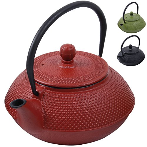 Deuba Teekessel Gusseisen 750 ml Rot Asiatische Teekanne • Japanischer Stil • Edelstahl Siebeinsatz • Praktischer Henkel