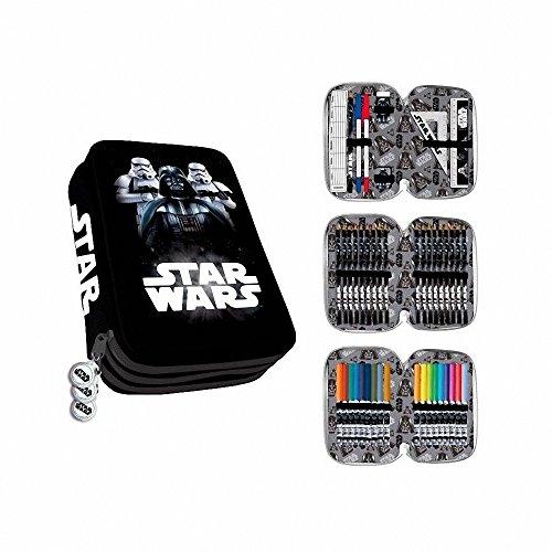 Estuche Plumier 3 Cremalleras 3 Pisos Star Wars Darth Vader y Stormtrooper Clamshell
