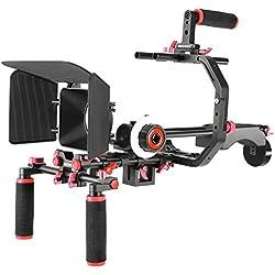 Neewer Rig Système Tournage de Film Vidéo pour Canon Nikon Sony et Autre DSLR Caméscope Vidéo avec Support en C Poignée 15mm Tige Coupe Flux Follow Focus (Rouge+Noir)
