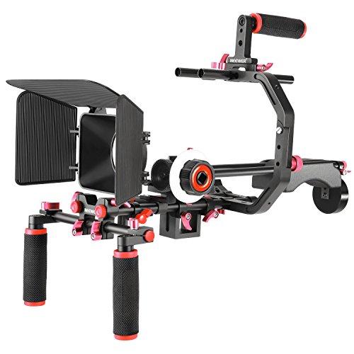 Neewer Video Herstellungssystem für Canon Nikon Sony und andere DSLR Kameras Video Camcorder: C-förmige Halterung Hand Griff Stange Matte Box Folgefokus Schulter Rig(rot+schwarz)