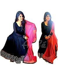 Karishma Creation Women's Blue Santun Fusion Dress Material/Salwar Suit [Free Size_SDM 39 [KC_894]]
