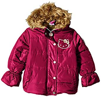 47141c6f5 Hello Kitty Girls' All Over All Over Printed Puffer Jacket with Fur Trim  Hood Down