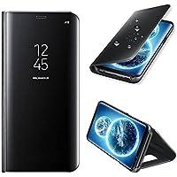 Coque Etui Housse pour Samsung Galaxy s8 case + film de protection souple Clear View Etui à Rabat Cover Flip Case Miroir Antichoc Téléphone Portable Samsung noir